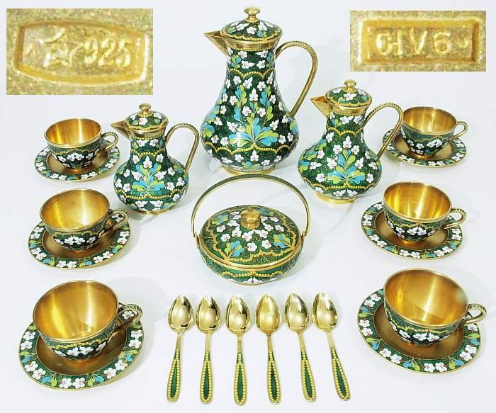 Russisches Cloisonné-Email-Service.